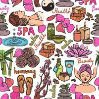Spa sketch color de patrones sin fisuras