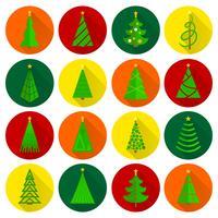 Botones redondos planos del árbol de navidad