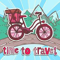 Travel poster with bicycle