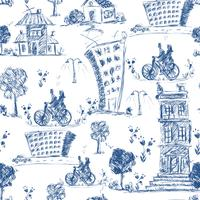 Doodle city seamless pattern
