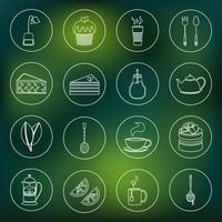 Tea icons set outline
