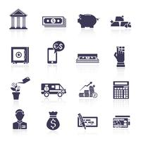 Bank service icons black set