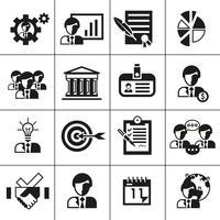 Ícones de gestão de negócios pretos