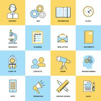 Business icons flat line set