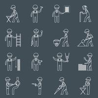 Construction worker icons outline