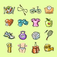 Fitness skiss färgade ikoner uppsättning