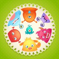 Cute monsters design vector