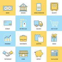 Set di icone linea piatta di affari