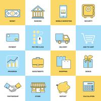 Business icons flat line set