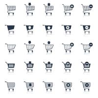 Shopping cart icons black