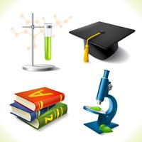 Realistic education icons set