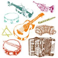 Musical instruments icons color set