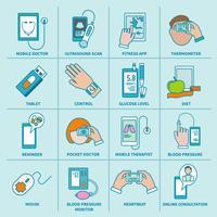 Iconos de salud digital establecidos línea plana