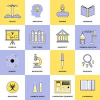Chemistry Flat Line Icons