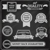 Quality labels chalkboard vector