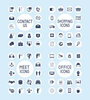 Internet Business Office en winkelen Icons Set