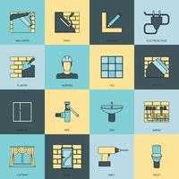 Home repair icons flat line set