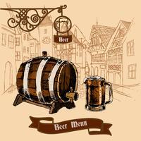 Boceto de menú de bar de cerveza