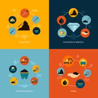 Mining icons flat composition vector