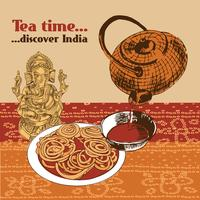 Indian teapot and cup vector