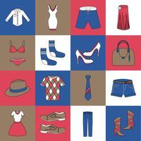Vêtements icônes mis ligne plate