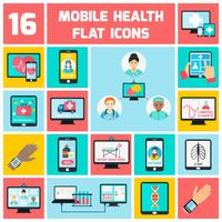 Mobile health icons set