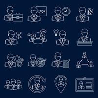 Esquema de iconos de negocios y gestión