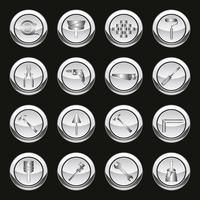 Metallic tools icons