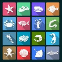 Conjunto de iconos de mariscos blanco