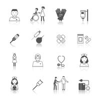 Conjunto de iconos de enfermera