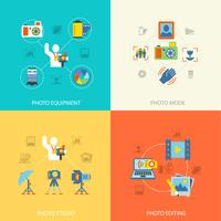 Photography icons flat