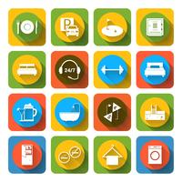 Hotel icons set flat vector