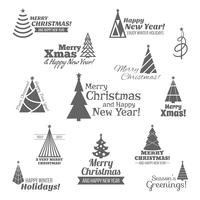 Christmas tree stamps set black
