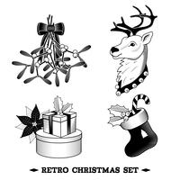Christmas icons black and white set