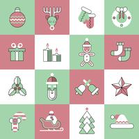 Christmas icons set flat line