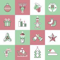 Conjunto de ícones de Natal linha plana