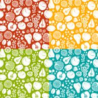 Fruits and berries sketch seamless pattern