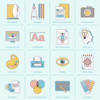 Linha plana de ícones de design gráfico
