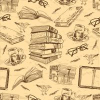 Vintage books seamless pattern