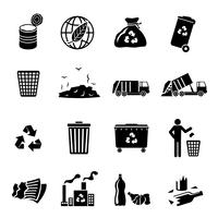 Garbage Icons Black vector