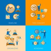 Conjunto de iconos de composición plana de gestión de tiempo