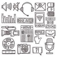 Media sketch icons set vector