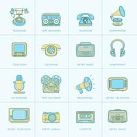 Retro Media Flat Line Icons vector