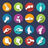 Hand holding objects flat set vector