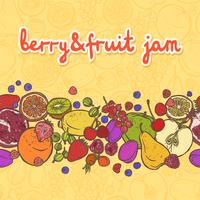 Fruits and berries border horizontal