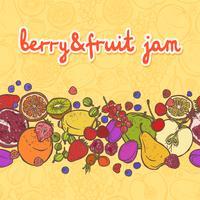 Fronteira de frutas e bagas horizontal