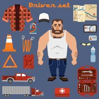 Driver character elements vector