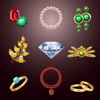 Ícones realistas de jóias