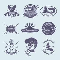 Conjunto de etiquetas de surf
