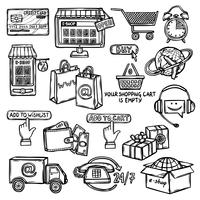 E-commerce icons set sketch